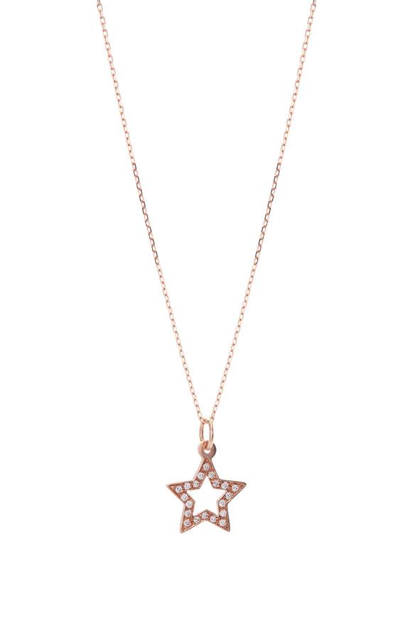 Genevieve Lau 14K Rose Gold White Diamond Star Necklace
