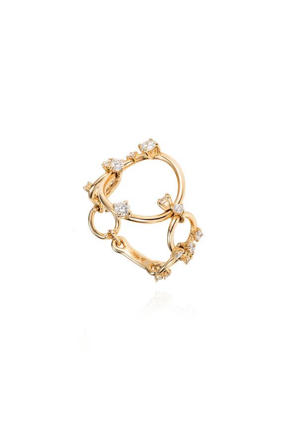 Fernando Jorge 18K Yellow Gold Diamond Aerial Loops Ring