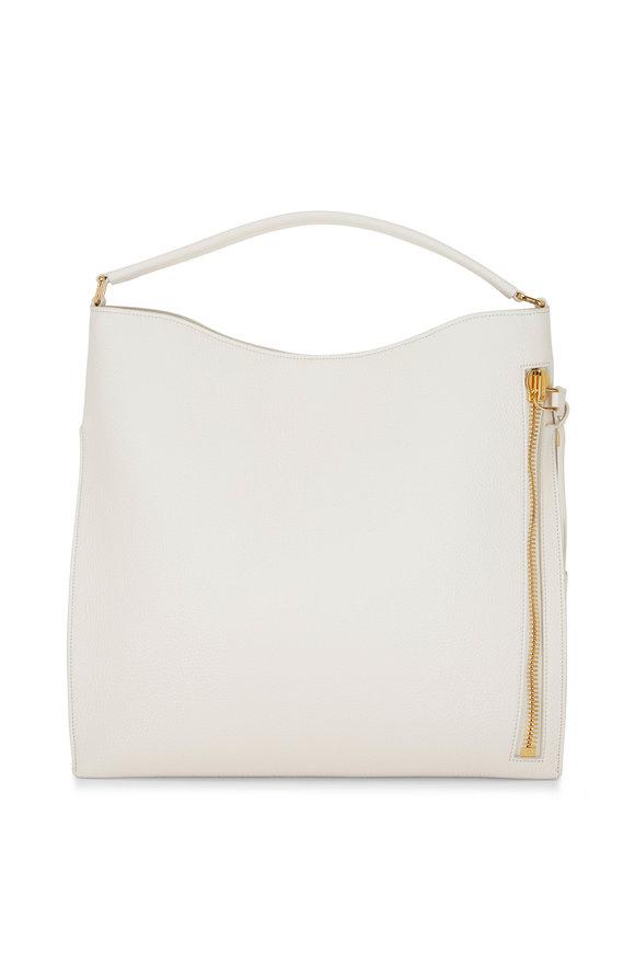 Tom Ford Alix Chalk White Leather Large Hobo Bag