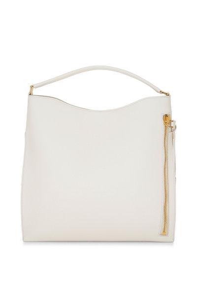 Tom Ford - Alix Chalk White Leather Large Hobo Bag