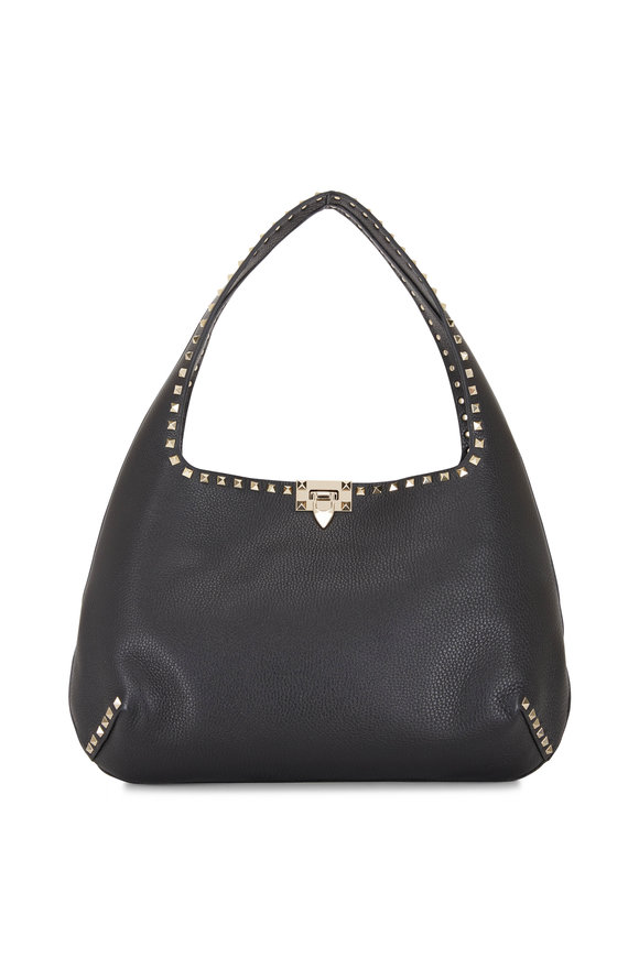 Valentino Garavani Rockstud Black Leather Large Hobo Bag