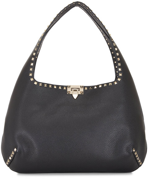 Valentino Garavani Rockstud Black Leather Large Hobo Bag
