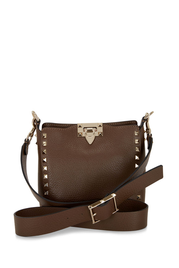 Valentino Garavani Deep Taupe Leather Rockstud Mini Hobo Bag
