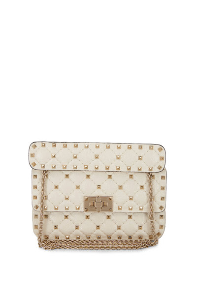 Valentino Garavani - Rockstud Spike Light Ivory Leather Small Bag