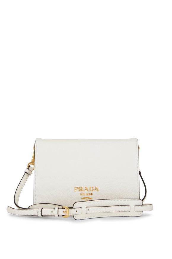 Prada White Leather Front Flap Crossbody