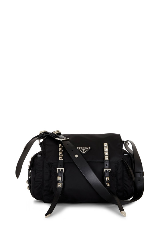 Prada Black Nylon Stud-Embellished Shoulder Bag
