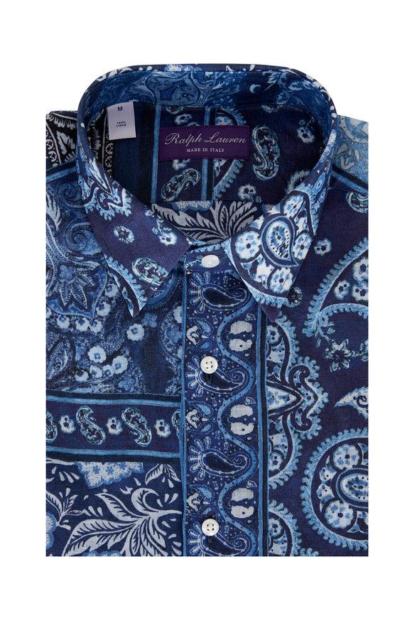 Ralph Lauren Navy Paisley Patchwork Linen Sport Shirt