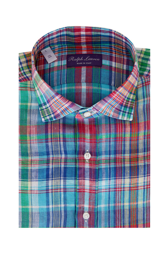Ralph Lauren Multicolor Plaid Linen Sport Shirt