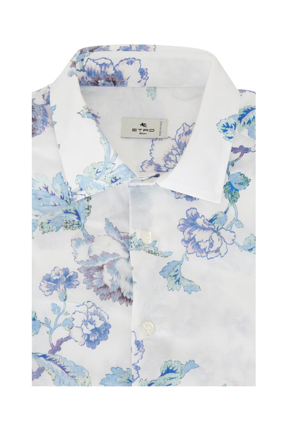 Etro White & Blue Floral Watercolor Sport Shirt