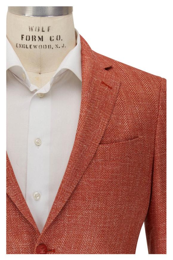 Etro Orange Herringbone Sport Coat