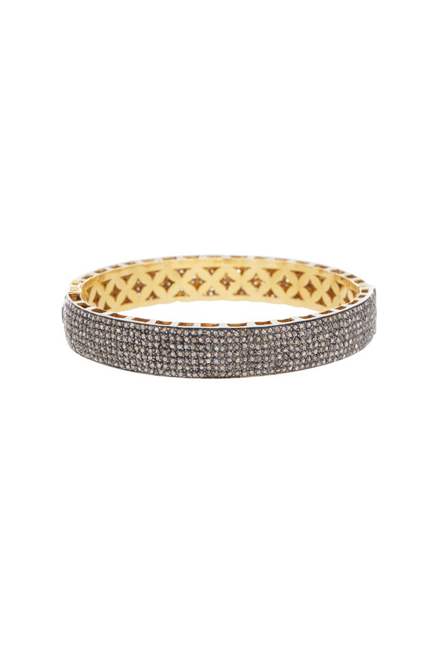Gold & Silver Medium Narrow Flat Diamond Bangle
