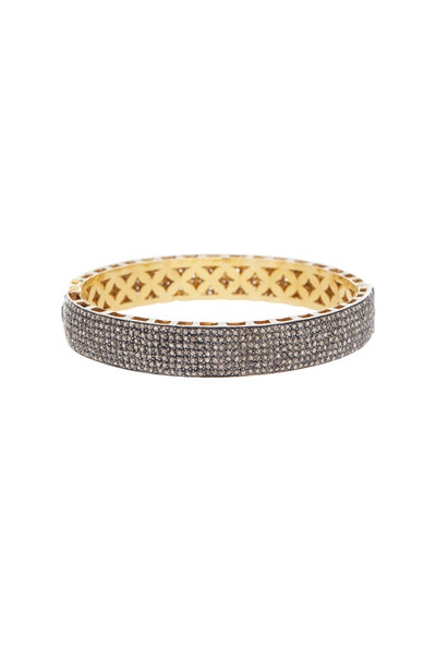 Loren Jewels - Gold & Silver Medium Narrow Flat Diamond Bangle
