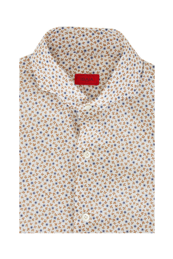 Isaia Blue & Brown Floral Print Dress Shirt