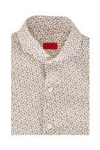 Isaia - Blue & Brown Floral Print Dress Shirt