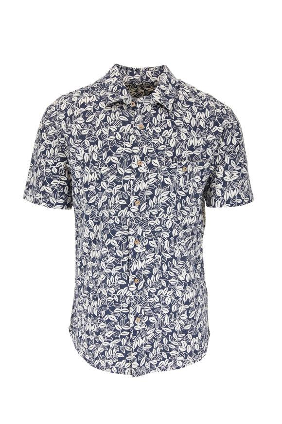 Faherty Brand Avalinas Blue Short Sleeve Knit Sportshirt