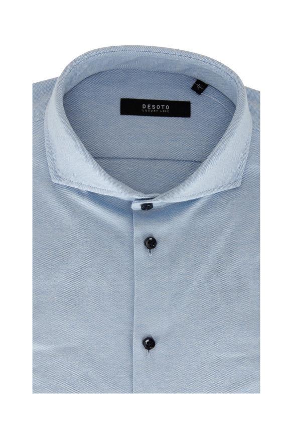 Desoto Light Blue Piqué Sport Shirt