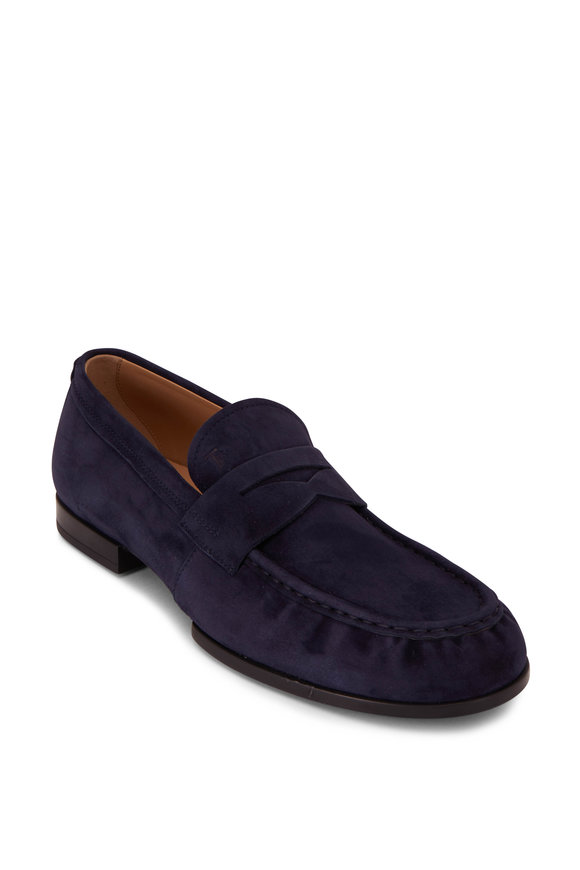 Tod's Mocassino Navy Suede Penny Loafer