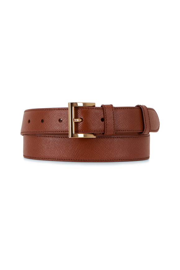 Prada Cognac Saffiano Leather Belt