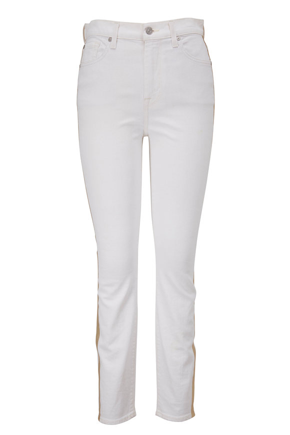 7 For All Mankind White High-Rise Side Gold Stripe Ankle Skinny Jean