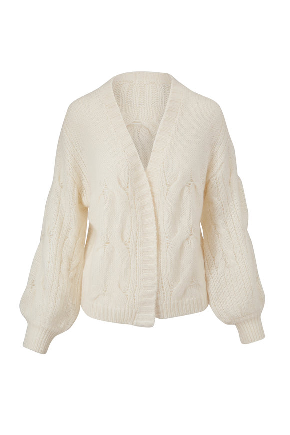 7 For All Mankind Ivory Open Weave Cocoon Cardigan