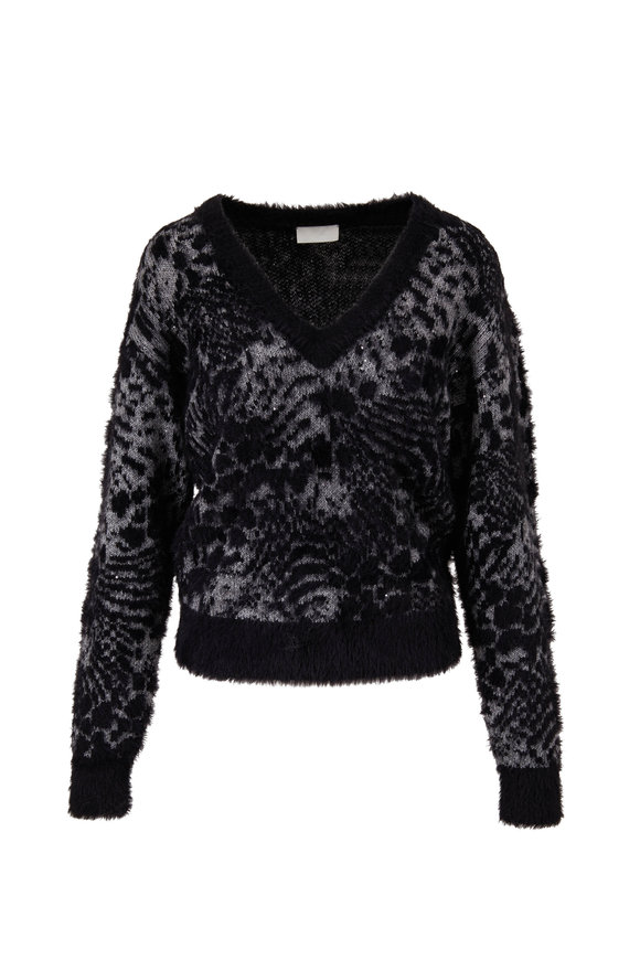 7 For All Mankind Black & Gray Animal Print Jacquard Sweater
