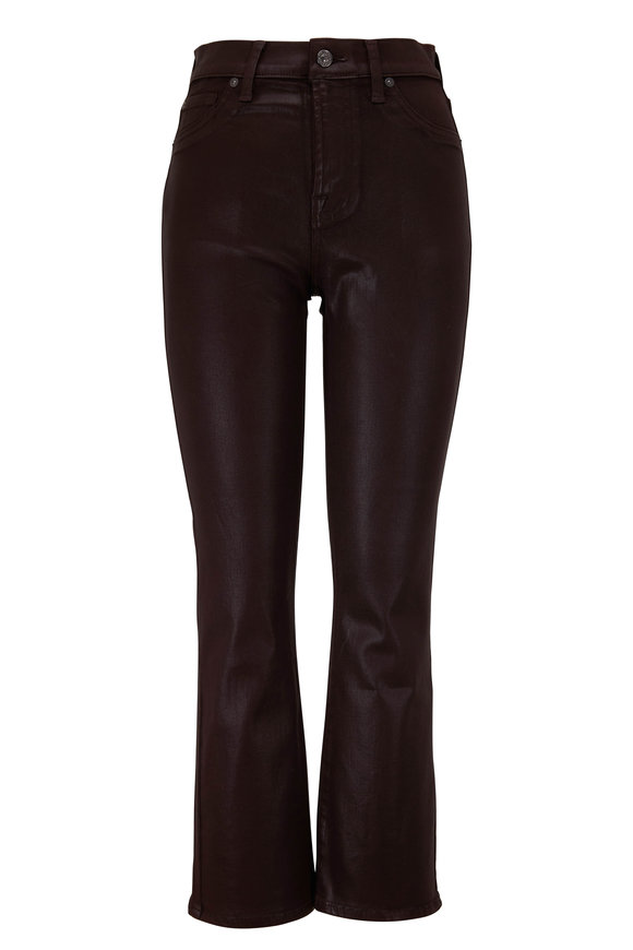 7 For All Mankind Mocha Coated High-Rise Flare Jean