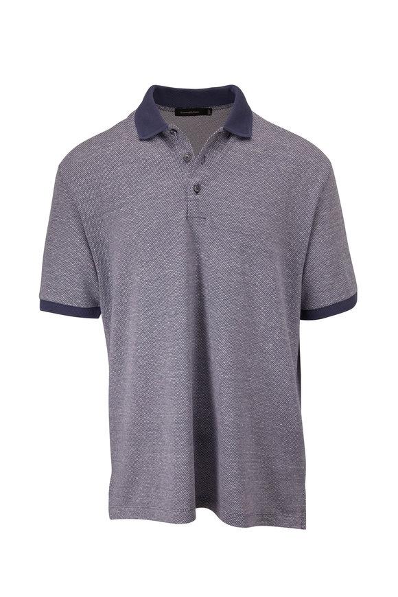 Ermenegildo Zegna Blue Textured Short Sleeve Polo