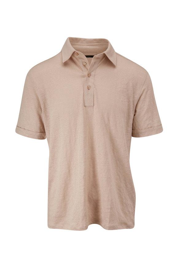 Ermenegildo Zegna Tan Linen Short Sleeve Polo