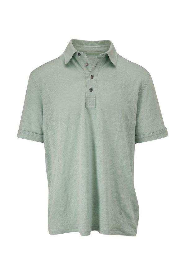 Ermenegildo Zegna Mint Green Linen Polo