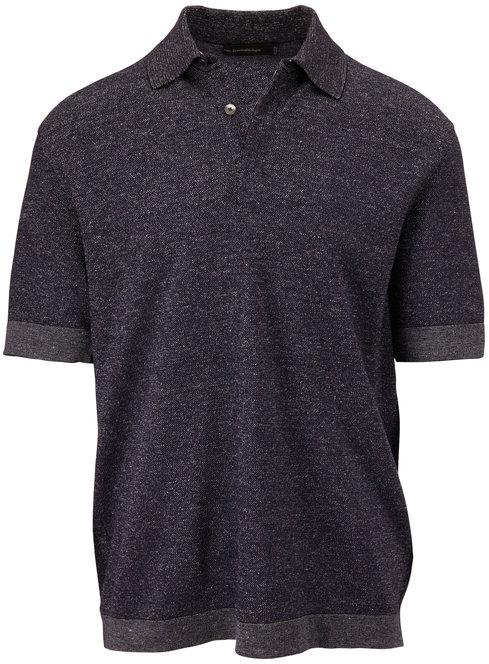 Ermenegildo Zegna Blue Marled Short Sleeve Polo