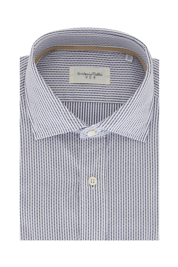 Tintoria Blue Striped Cotton Sport Shirt