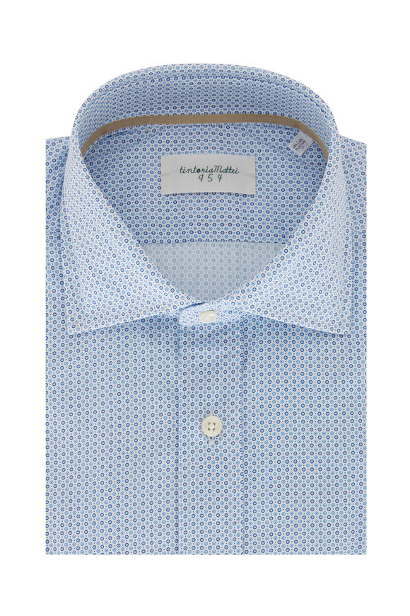 Tintoria Blue Circle Print Cotton Sport Shirt