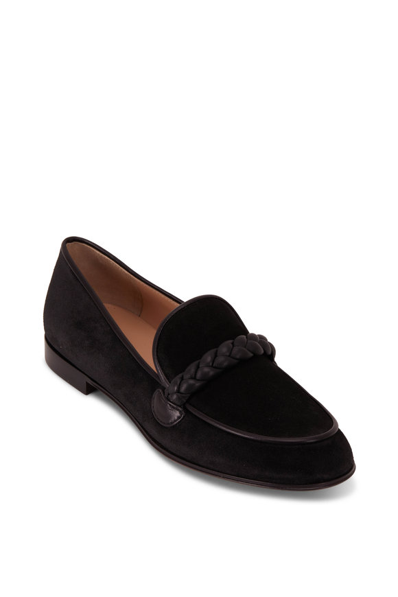 Gianvito Rossi Braid Black Suede & Leather Loafer