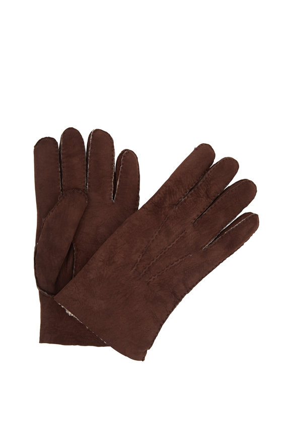 Labonia Brown Suede & Shearling Gloves