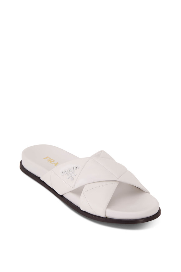 Prada White Quilted Nappa Leather Criss Cross Slide