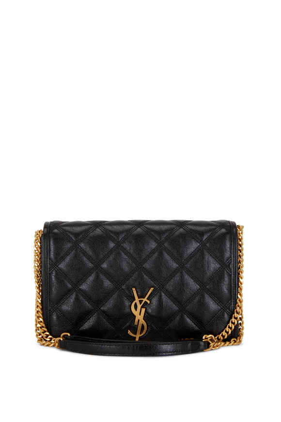 Saint Laurent Becky Black Quilted Leather Wallet On Chain