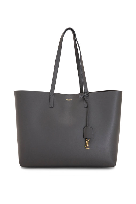 Saint Laurent East West Storm Gray Leather Shopping Tote