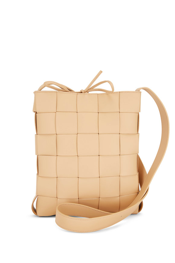 Bottega Veneta Cassette Messenger Almond Woven Leather Bag
