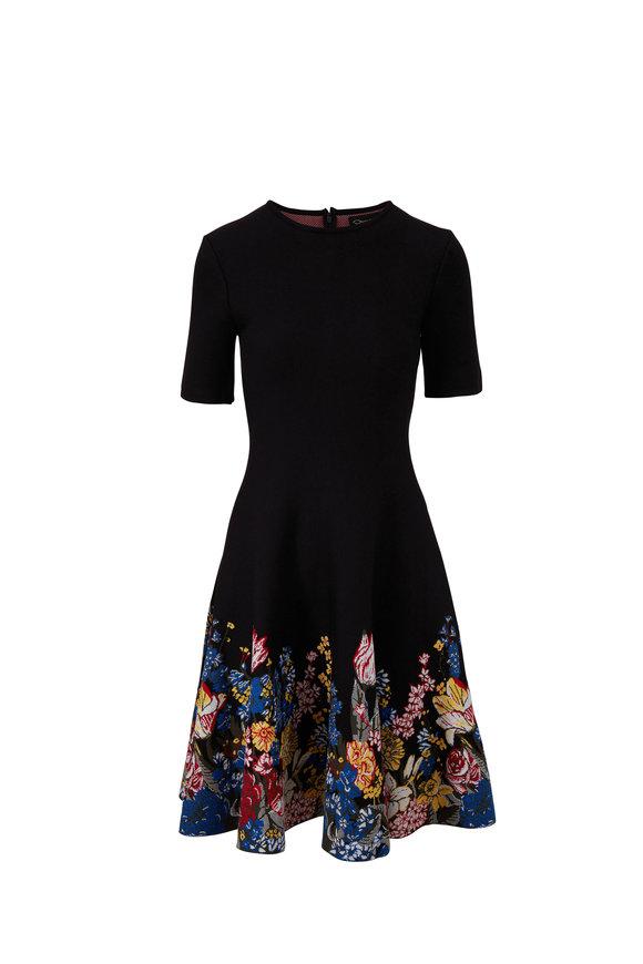 Oscar de la Renta Black Bouquet Print Short Sleeve Knit Dress