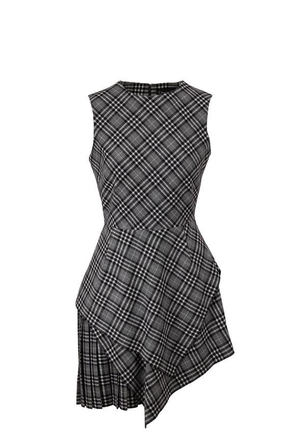 Oscar de la Renta Asymmetric Plaid Flannel Sleeveless Mini Dress