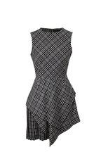 Oscar de la Renta - Asymmetric Plaid Flannel Sleeveless Mini Dress