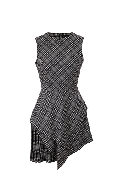 Oscar de la Renta - Asymmetric Plaid Flannel Sleeveless Mini Dress