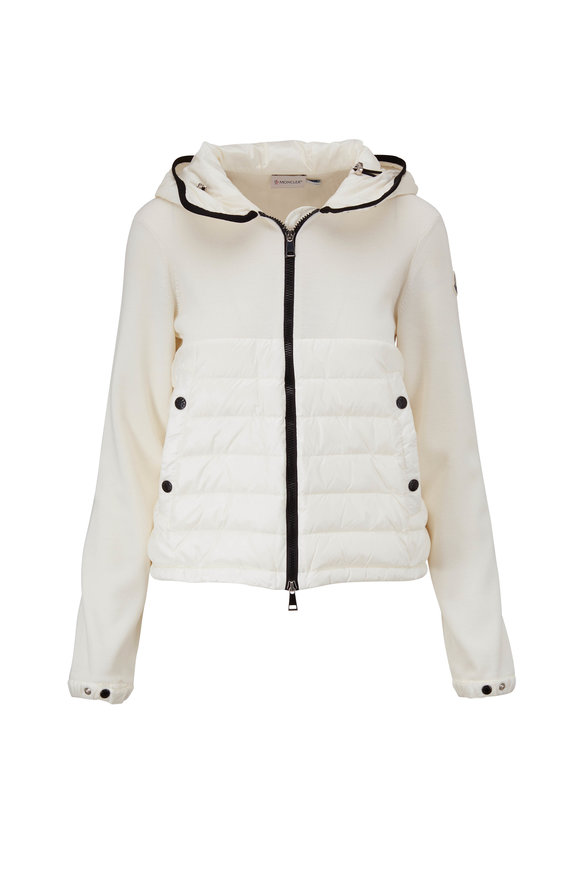 Moncler White Quilted Front Down Hooded Cardigan