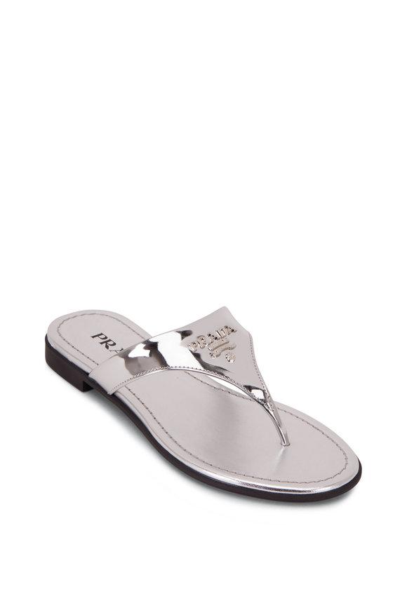 Prada Silver Leather Logo Thong Sandal