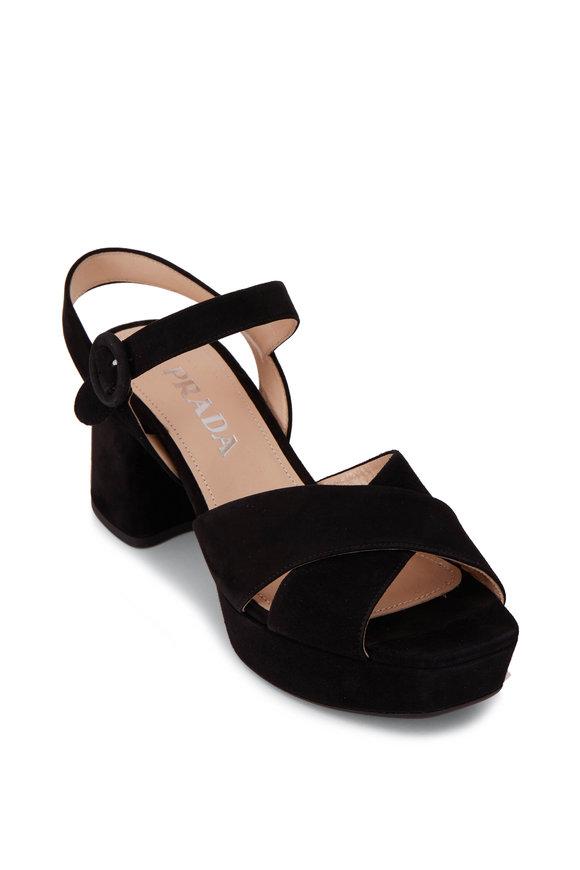 Prada Black Suede Chunky Heel Strappy Sandal, 65mm
