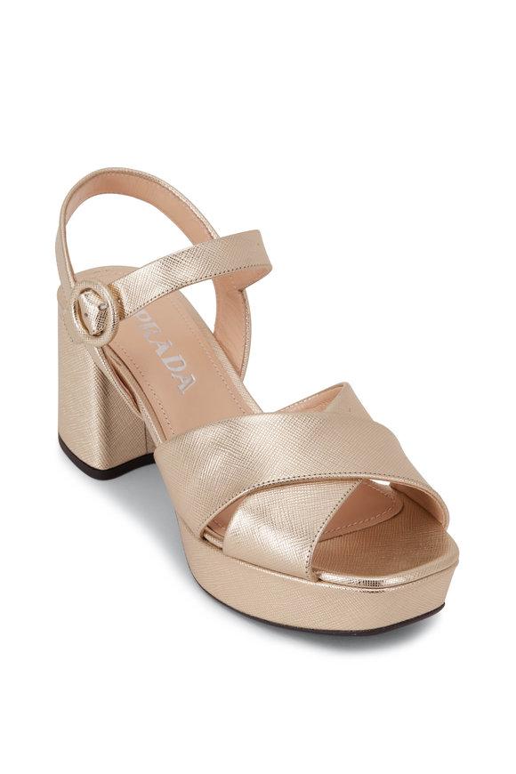Prada Metallic Gold Chunky Heel Strappy Sandal, 65mm