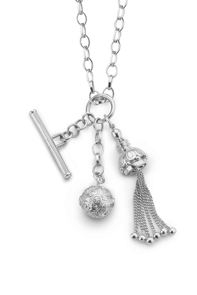 Tassle, Toggle And Ball White Sapphire Necklace