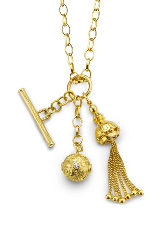 Yellow Gold Tassel, Toggle & Ball Charm Necklace