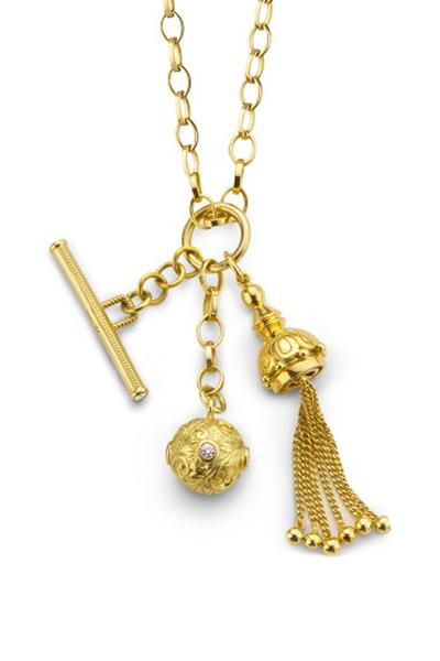 Monica Rich Kosann - Yellow Gold Tassel, Toggle & Ball Charm Necklace