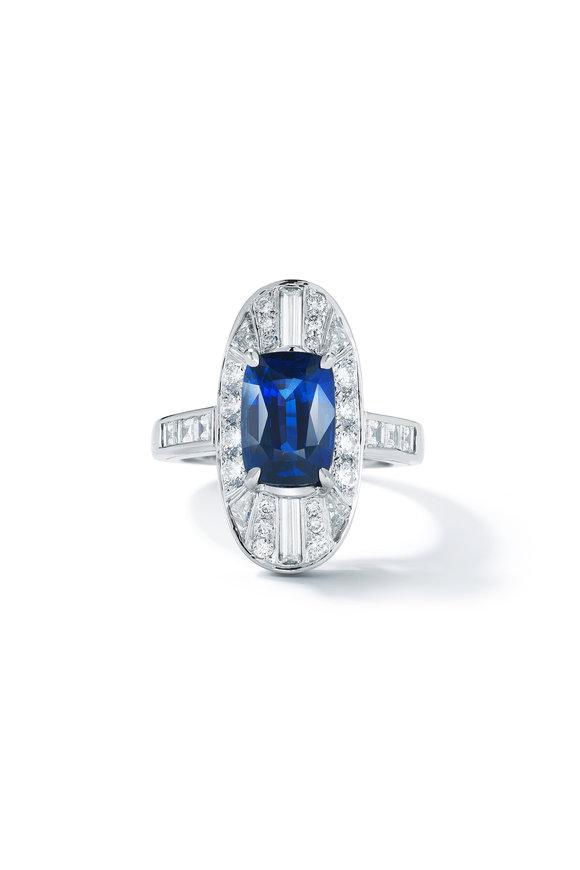 Oscar Heyman Platinum Diamond & Blue Sapphire Ring